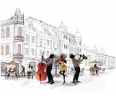 Series of the streets with people in the old city, musicians — Stock Vector