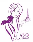 Beautiful woman in a polka dot scarf with the Eiffel tower — Stock Vector