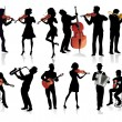 Set of musicians silhouettes — Stock Vector #68423301