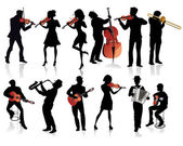 Set of musicians silhouettes — Stock Vector