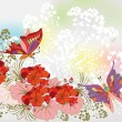 Delicate floral background with red flowers and butterflies — Stock Vector #69203363