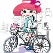 Sketch of a cute little girl with a bicycle at the street — Stock Vector #71659401