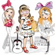 Set of three fashion little girls in the city — Stock Vector #71659411