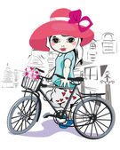 Sketch of a cute little girl with a bicycle at the street — Stock Vector