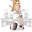 Fashion little girl on the scooter in the city — Stock Vector #72397515