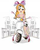 Fashion little girl on the scooter in the city — Stock Vector