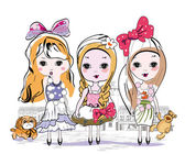 Set of three fashion little girls in the city — Stock Vector