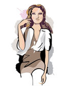 Series of sketches of beautiful fashion girls — Stock Vector