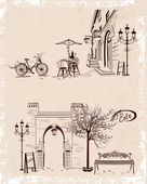 Series of backgrounds decorated with old town views and street cafes. — Stock Vector