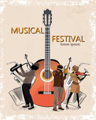 Musical background with a guitar and musicians — Stock Vector