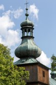 The wooden antique church in Podstolice near Cracow. Poland — Stock Photo