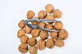 Walnuts heap isolated on  white background — Stock Photo