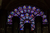 Organ and West rose window inside the Notre Dame Cathedral, — Stock Photo