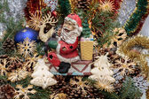 Christmas composition with cone and christmas decorations — ストック写真