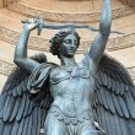 Statues of Fountain Saint Michel in Paris — Stock Photo #59419963