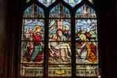 Stained glass window in the Church of Saint-Severin is a Roman Catholic church in the Latin Quarter of Paris, France — Stock Photo