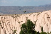 Volcanic rock landscape, Goreme, Cappadocia, Uchisar, Turkey — Stock Photo