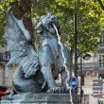 Statues of Fountain Saint Michel in Paris — Stock Photo #60025751