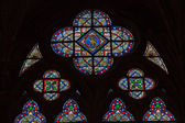 Stained glass windows inside the Notre Dame Cathedral, — Stok fotoğraf