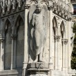 Paris - Fountain of Virgin in Square Jean XXIII near east side of Cathedral Notre Dame — Stock Photo #64441443