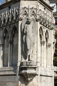 Paris - Fountain of Virgin in Square Jean XXIII near east side of Cathedral Notre Dame — Stock Photo