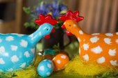 Painted hen dotted as the Easter decoration — Stock Photo