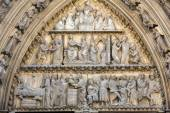 Paris, Notre Dame Cathedral. The north transept portal and tympanum — Stock Photo