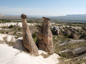 Rock formations in Goreme National Park . Cappadocia.Turkey — Stock Photo