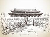Tiananmen Gate at the Tiananmen Square — Stock Vector