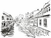 Cityscape riverside sketch — Stock Vector