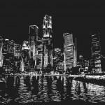 Singapore skyline at night — Stock Vector #58287217