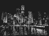 Singapore skyline at night — Stock Vector