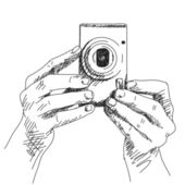 Hands holding compact photo camera — Stock Vector