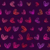 Fondo de corazones dibujados a mano sin costura — Vector de stock