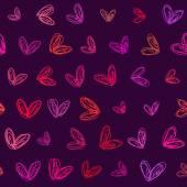 Seamless hand drawn hearts background — 图库矢量图片