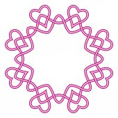 Round frame pink ribbon — Stock Vector