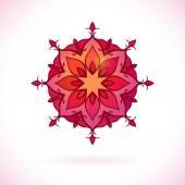 Elemento floral vermelho Ásia Central — Vetor de Stock
