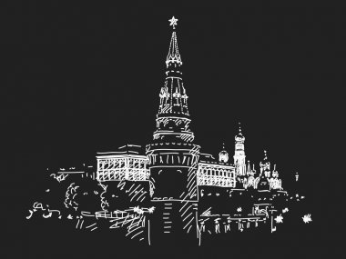 Hand drawn Moscow Kremlin