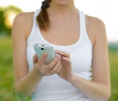 Woman Using Mobile Smart Phone Outdoors — Стоковое фото