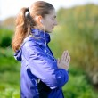 Young Beautiful Woman Meditate in the Park — Stock Photo #62522969