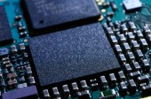 Close up Image of Electronic Circuit Board with Processor — Stock Photo