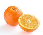 Ripe Juicy Orange with Slice Isolated on White Background — Foto Stock