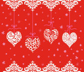 Red Valentine Hearts Hanging in a Row — Stock Photo