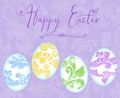 Happy Easter With Colorful Eggs on a Lavender Background — Stock fotografie