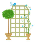 Topiary With Trellis and Blue Bird — Stock Photo