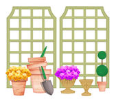 Trellises With Garden Tools and Flower Pots — Stock Photo