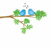 Two Little Birds on a Tree Branch — Stock Photo