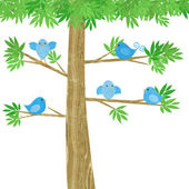 Cute Little Birds in a Tree — Stock Photo