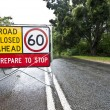 Flooded road with sign — Stock Photo #72741223