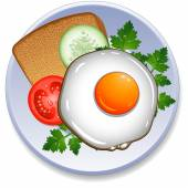 Breakfast on the plate — Stock Vector